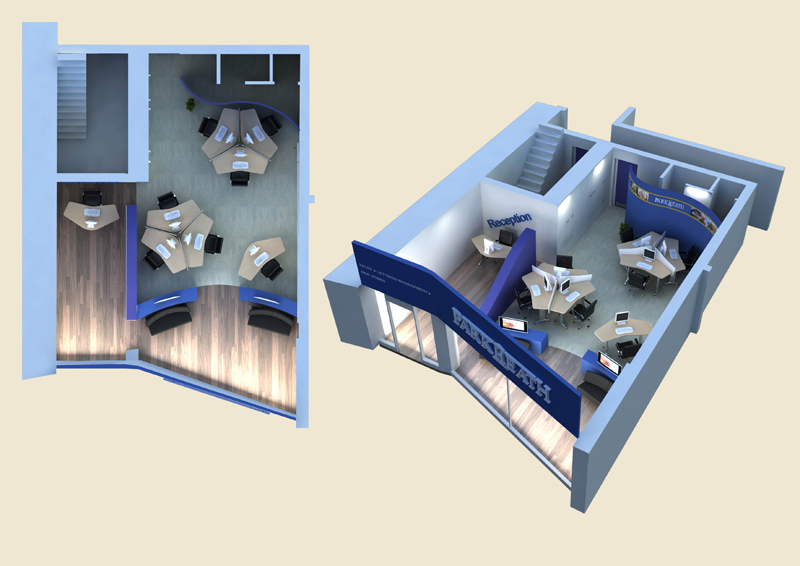 Oad creative design 3d visualisation office design for Software for planning room layouts